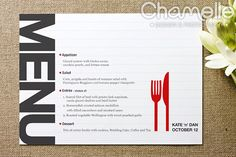 Follow up a cool invite with a neat menu card - Wedding menu card design by ChamelleDesignPhotography, via Flickr