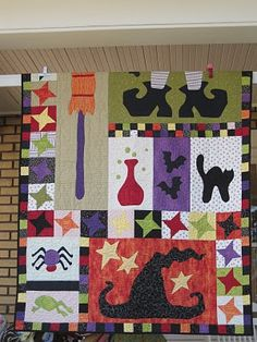 Hocus Pocus Complete Kit Approx: x Piecing and applique bring together all the magic of Halloween in this My Lazy Daisy exclusive, Hocus Pocus. Kit includes: pattern, assorted fabrics, binding and cotton back. Pattern Only also available. Halloween Sewing, Fall Sewing, Halloween Projects, Fall Halloween, Halloween Ideas, Halloween Table, Halloween Pillows, Halloween Quilts, Witch Quilt