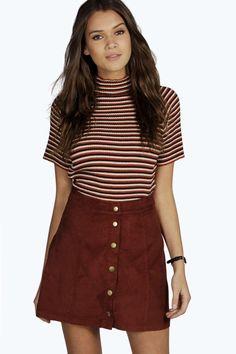 Adalyn Cord Button Through Mini Skirt at boohoo.com