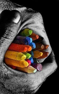 hand crayons rainbow accent