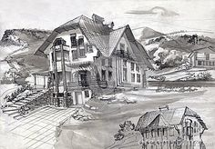 Architectural sketch of the project of an apartment house in the mountains of the North Caucasus. Generated Drawing ink and watercolor.