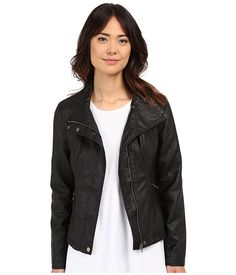 Brigitte Bailey Women's Doralee Faux Leather Jacket Black Outerwear LG * Read more at the image link. Black Faux Leather Jacket, Vegan Leather Jacket, Faux Leather Jackets, Undyne Cosplay, Clothes For Women, Moto Jacket, Motorcycle Jacket, Biker, My Style