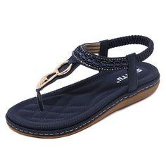 POADISFOO Blue Gold Studded T-Strap Sandal, 6 - 8