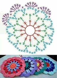 52 Ideas Crochet Mandala Diagram Charts For 2019 Motif Mandala Crochet, Crochet Circles, Crochet Blocks, Crochet Squares, Crochet Doilies, Crochet Flowers, Granny Squares, Crochet Puff Flower, Flower Mandala