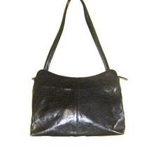 GENUINE LEATHER HANDBAG, Italian Leather Handbag, Black Leather Handbag, Real leather Handbag, Italian Leather Bag, Vintage Italian Handbag