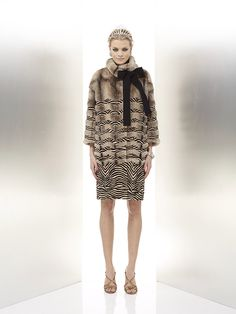 Guiliana Teso Dyed Cross Mink & Sheared Mink Fur Coat