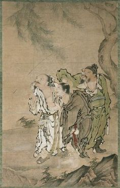 Three Transcedents under a Tree  三仙図  Japanese, Edo period, 17th century  Artist Unknown, Japanese, Hanging scroll; Ink and color on paper, MFA