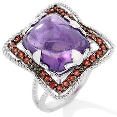 Opulent Opaques .56ct Amethyst & Orange Garnet Sterling Silver Ring 5 #OpulentOpaques #Cocktail