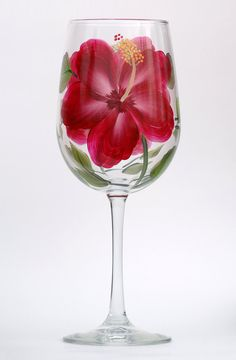 Red Hibiscus Hand-Painted Wine Glass by Wineflowers on Etsy