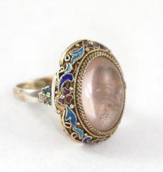 Antique Vintage Chinese Silver Enamel Rose Quartz Ring