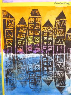 5th grade Printmaking and reflection project AND warm and cool colors. Love!