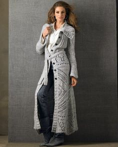 Long Ivory love stitch duster coat cardigan maxi NWT | Coats, Warm ...