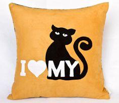 """I love my black cat"" pillow"