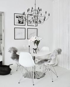 Modern Scandinavian dining room with all interior in white and details in black. Leather Dining Room Chairs, Dining Table Chairs, Dining Room Inspiration, Interior Inspiration, Scandinavian Home, My Living Room, Apartment Design, Interiores Design, Sweet Home