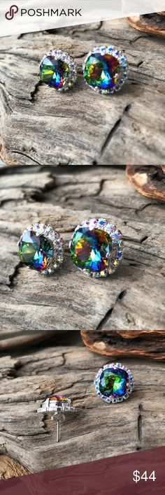 Handcrafted earrings with Swarovski crystal #206 This listing is for an exquisite pair of sparkly crystals in a silver post setting surrounded by tiny AB crystals. Look like a princess in these. Hubby & I make jewelry using genuine Swarovski crystals. Nickel free. All items are much prettier in person. Proceeds used to help our 5-yr-old granddaughter Lila May in her fight against cancer, but she lost her battle. Now she is dancing with angels.  A % of profit will go to Neuroblastoma…