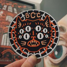 Designed by Daggers for Teeth especially for Bad Cats ClubEmbroidered/ sew on patch Cute Patches, Pin And Patches, Sew On Patches, Cat Patch, Bad Cats, Merit Badge, Patch Design, Embroidery Patches, Textiles