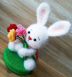 Weißes Kaninchenhäkelmuster