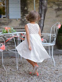 Robe de cérémonie fille sans manches et macramé BLANC IMPRIME+FUCHSIA+BLANC+CORAIL IMPRIME - vertbaudet enfant
