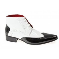 Shuperb MATRIX Mens Funky Pointed Patent Boots Black And White