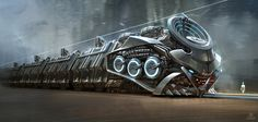 Vehicle Design Cargo Train - mashup design project with Matrix & Metropolis Class assignment X Yang Cyberpunk, Futuristic Art, Futuristic Technology, Futuristic Vehicles, Science Fiction, Steampunk, Sci Fi Ships, Train Art, Transporter