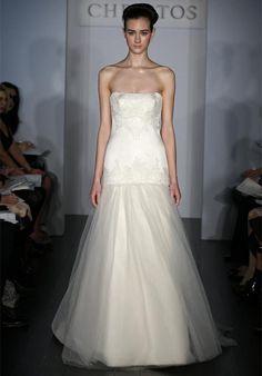 Fashion Flat Strapless Drop Waist Applique Floor Length Wedding Garment