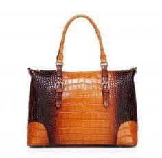 Vicenzo Leather Kellis Crocodile Embossed Leather Handbag, Brown