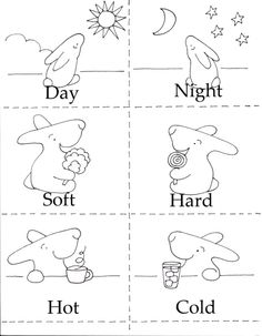 Free Preschool Printable. Opposites 3 in 1 printable makes adorable coloring sheets!