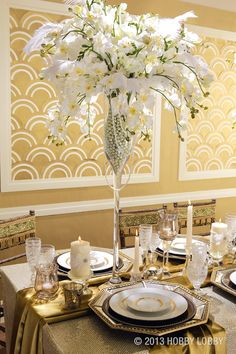 The 20s have come roaring back in a big way! Geometric forms, etched glass and sumptuous, golden hues streamline together creating the ritziest wedding in town.
