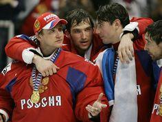 Evgeny Nabobkov, Alexander Ovechkin, Denis Grebeshkov (IIHF World Championship - May 18, 2008)