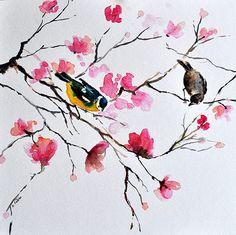 ORIGINAL peinture à l'aquarelle oiseau, Mésange charbonnière et Bruant avec Rose fleurs 10 x 10 pouces