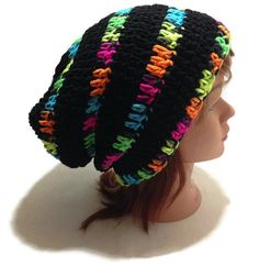 Crochet Neon Black Light Thick Striped Slouch ♥ by AddSomeStitches 4ee8addfa1