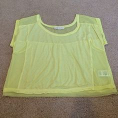 """Urban outfitter crop top Yellow crop top with mesh accent and trim. I got this from urban outfitters, the brand on the tag reads """"staring at stars"""". Urban Outfitters Tops Crop Tops"""