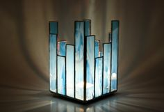 Stained Glass Candle Holder Blue by GailsGlassGarden on Etsy, $30.00
