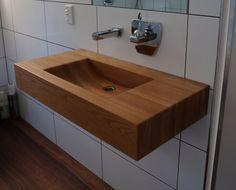 Solid American oak vanity basin