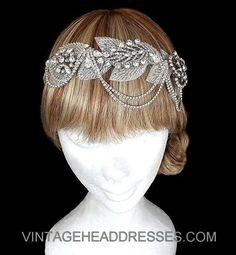 Vintage Beaded Leaf 1940's Diamante Bridal Headpiece, Drape Headpiece, Wedding Headpiece, Silver Embellished, Rhinestone, Downton Abbey