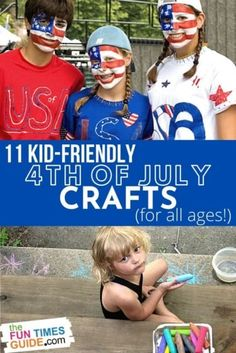 Engage the kids this summer with Independence Day themed crafts to get them excited for the Fourth of July holiday. From DIY tote bags to homemade sparklers, patriotic face painting, and more... here are 11 ways to add sparkle to kids craft time on the 4th of July! #fourthofjuly #4thofjuly #kidscrafts #patriotic #crafts #kids
