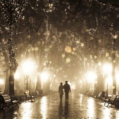couple walking in alley in night lights.   AMAZING
