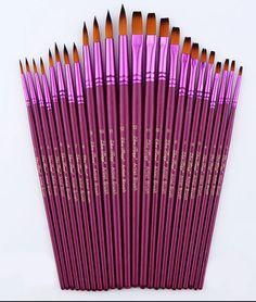 24 Pcs/Lot Artiste Différents Taille Fine Nylon Peinture De Brosse À Cheveux Ensemble pour Aquarelle Acrylique Peinture À L'huile