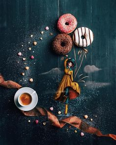 Staging Drawings in the Real World Sweet, tasty, colorful balloons. Staging Drawings in the Real World. By Cinzia Bolognesi. Coffee Photography, Creative Photography, Art Photography, Sweet Coffee, I Love Coffee, Little's Coffee, White Coffee, Coffee Beans, Photo Food
