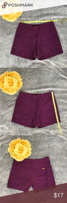 "White House Black Market ""The 5"" Shorts"" Purpleish color  Cute design on the sides  Longer Shorts, perfect for work!  A little worn, no rips or stains!! White House Black Market Shorts"