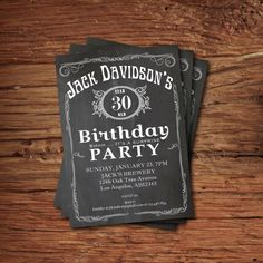 Printable whiskey label vintage chalkboard Adult Birthday Invitation. Retro surprise birthday for men 30th birthday 40th 50th 60th 70th AB14...