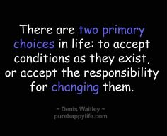an analysis of the two primary choices in life to accept conditions as they exist or accept the resp Home quotes motivational quotes there are two primary choices in life to accept conditions as they exist, or to accept the responsibility for changing them.