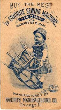 Victorian Trade Card for The Favorite Sewing Machine Co Chicago Ill