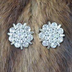 Clear Rhinestone Snowflake Earrings Vintage by MyVintageJewels on Etsy
