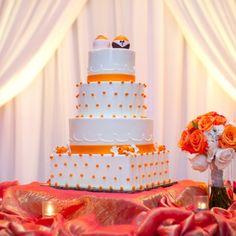 Elegant orange and blue florida orange grove-themed wedding. White Cakes, Orange Cakes, Blue Orange, Orange Color, Colour, Florida Oranges, Orange Grove, Beautiful Wedding Cakes, Wedding Desserts