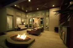 Covered patio LOVE the fire