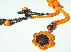 OOAKOrange cotton yarn Crochet cord and copper by NMNHANDMADE, $25.00