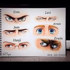 @erenxlevi_yaoi121 their awesome eye illustrations of the characters Eren, levi, Jean, Armin, Hanji and Erwin from the anime/manga Attack on Titan