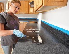 Using Rust-Oleum's new Countertop Transformations coating system. Ideas for the Kitchen: Renew Kitchen Countertops The Family Handyman Home Renovation, Home Remodeling, Camper Remodeling, Kitchen Redo, Kitchen Laminate, Kitchen Ideas, Ugly Kitchen, Laminate Cabinets, Oak Cabinets