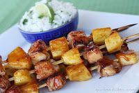 Bacon-Wrapped Teriyaki Chicken Skewers |  best serve with coconut rice. Best 1 lb. boneless skinless chicken breasts or thighs About 8 oz. lean bacon, NOT thick-sliced (thick bacon is too hard to work with in this recipe) 1 large can pineapple chunks (you won't use all of them) Homemade Teriyaki sauce (the best!) or Kikkoman Teriyaki Baste and Glaze Kebab skewers